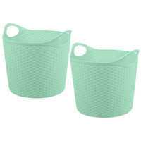 Rebrilliant Rattan Look 40 Liter Multi-Purpose Flex Tub Plastic 2 Piece Basket Set Color: Teal