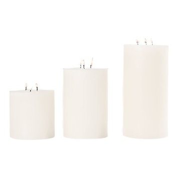 Global Views 3 Wick Unscented Pillar Candle Size: 6