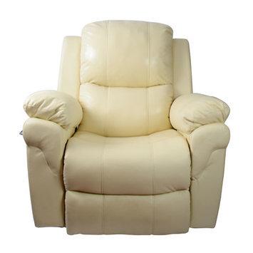 Newacme Llc MCombo Vibrating Swivel Reclining Massage Chair with Heated Lounge Upholstery: Creme White