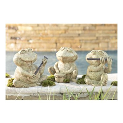 Wind & Weather 3 Piece Frog Musician Statue Set