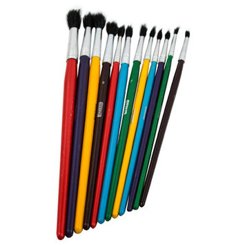 Bazic Products All Purpose Brush Set Assorted Sizes 12 Count