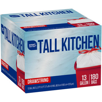 Smart Sense® 13 Gallon Tall Kitchen Drawstring Trash Bags 180 ct Box