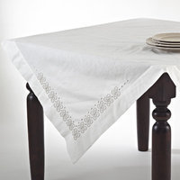 Saro Embroidered Cotton Blend Chain Link Table Topper