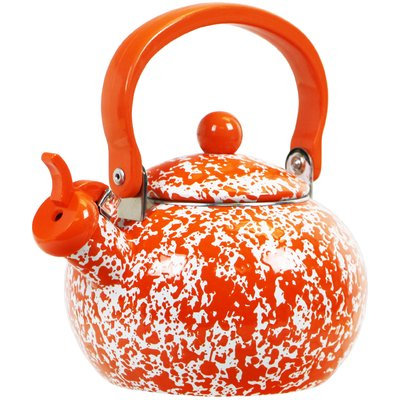 Reston Lloyd Calypso Basics Marble Whistling Teakettle, 2 quart, Orange