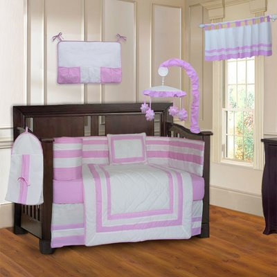 Zoomie Kids Andelain Modern Quilted 10 Piece Baby Crib Bedding Set Color: Pink