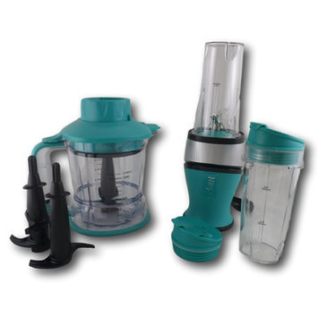Nutri Ninja 12 Piece 2 in 1 Nutrient and Vitamin Extracting Countertop Blender Set Color: Turquoise