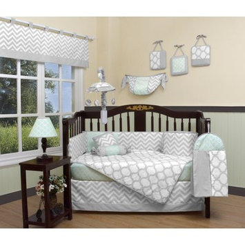 Geenny Chevron 13 Piece Crib Bedding Set Color: Soft Mint Green