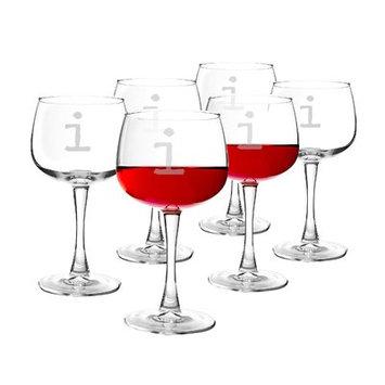 Latitude Run Metz Personalized 13 Oz. Red Wine Glass Letter: I