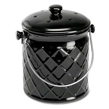 Plow & Hearth 1-Gallon Lattice Ceramic Compost Crock, in Black