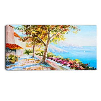 Design Art Designart House And Sea In The Fall Landscape ArtPrint Canvas