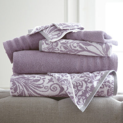 House Of Hampton Filigree Swirl 6 Piece Towel Set Color: Grey Lavender
