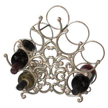 Mwcbk Antique Silver Fleur De Lis Wine Rack
