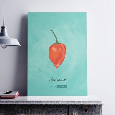 Ebern Designs 'Habanero Chili Pepper' Graphic Art Print on Paper Canvas Size: 19