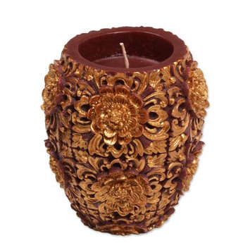 Novica Floral Vase Pillar Candle Size: 5.5