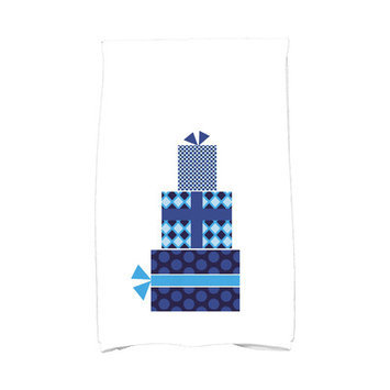 Mercury Row Holiday Wishes Gift Wrapped Hand Towel Color: Blue