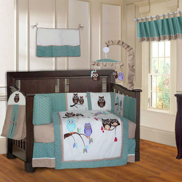 Babyfad Owl 10 Piece Crib Bedding Set Color: Turquoise