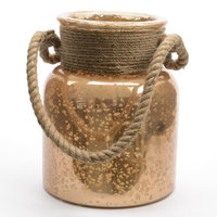 Seaside Treasures Copper Colored Glass Hurricane with Rope Handle 9.5