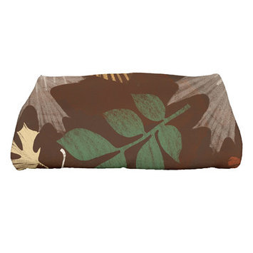 Loon Peak Flipping for Fall Watercolor Leaves Bath Towel Color: Brown