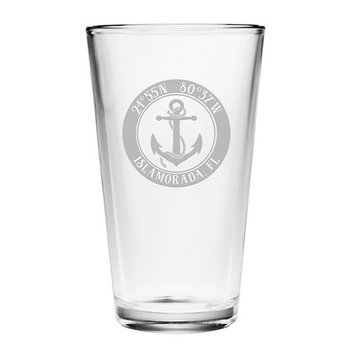 Longshore Tides Galvez Anchor 16 oz. Glass Pint Glass