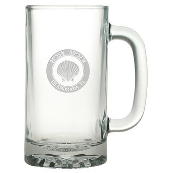 Longshore Tides Galvez Seashell 16 oz. Glass Beer Mug