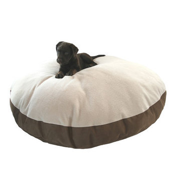 Hidden Valley Products Supersoft Round Sherpa Dog Pillow Color: Brown Plaid, Size: Extra Large (52
