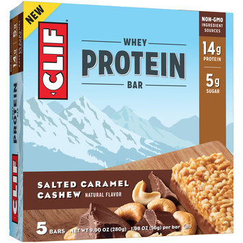 Clif® Salted Caramel Cashew Whey Protein Bars 5-1.98 oz. Bars