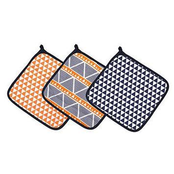 Bacati Liam Aztec Triangles Muslin 3 Piece Washcloth Set Color: Orange/Navy