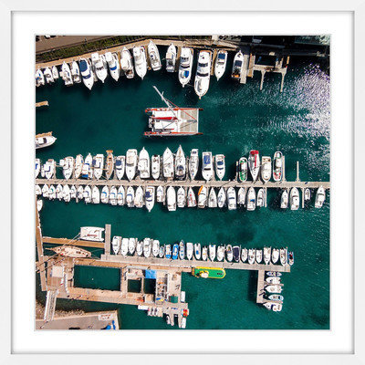 Marmont Hill Inc Marmont Hill - 'All Boats Docked' by Karolis Janulis Framed Painting Print