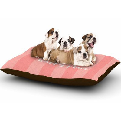 East Urban Home Sylvia Cook 'Beach is My Happy Place' Typography Dog Pillow with Fleece Cozy Top Color: Coral/Pink