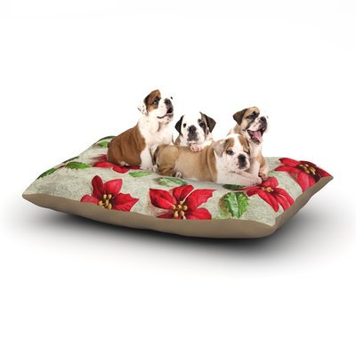 East Urban Home Sylvia Cook 'Poinsettia' Holiday Leaves Dog Pillow with Fleece Cozy Top Size: Small (40