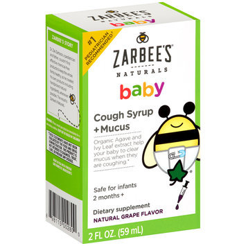 Zarbee's® Naturals Baby Cough Syrup + Mucus Natural Grape Flavor Dietary Supplement 2 fl. oz. Box