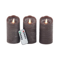 17 Stories 3 Piece Modern Scalloped LED Flicker Flameless Candle Set Color: Brown