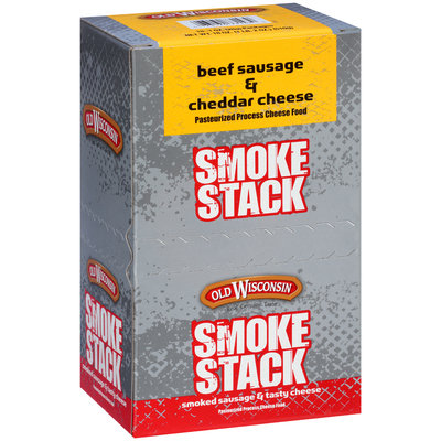 Old Wisconsin® Smoke Stack Beef Sausage & Cheddar Cheese Snacks 18-1 oz. Packs