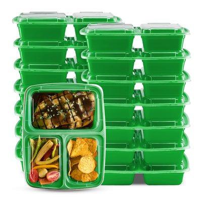 Rebrilliant 3 Compartment Food Storage Container Color: Green