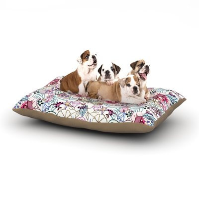 East Urban Home DLKG Design 'Cool Stitch White' Blush Dog Pillow with Fleece Cozy Top Size: Small (40