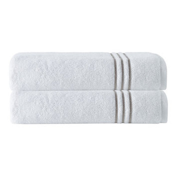 Enchante Home Broderie Embriodery 100% Cotton Bath Towel Color: White/Beige