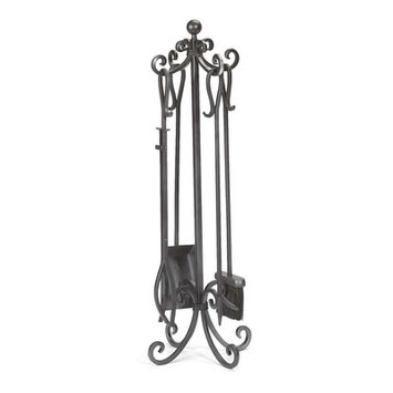 Plow & Hearth 5 Piece Steel Fireplace Tool Set Finish: Pewter