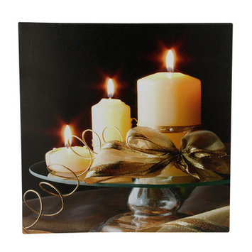 The Holiday Aisle '3 LED Lighted Candle Scene' Photographic Print on Canvas