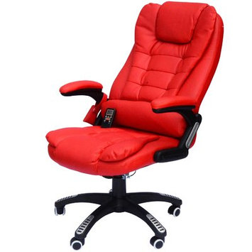 Andover Mills Whiting Faux Leather Heated Massage Chair Upholstery: Red