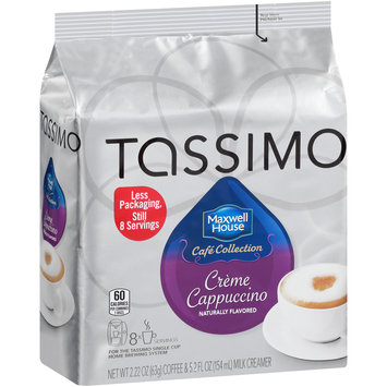 Tassimo Maxwell House Cafe Collection Creme Cappuccino Coffee & Milk Creamer T Discs 8 ct Bag