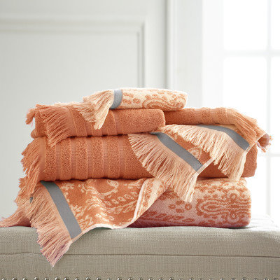 Bungalow Rose Jaipur 6 Piece Towel Set Color: Coral