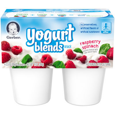 Gerber® Yogurt Blends Snack Raspberry Spinach Yogurt 4-3.5 oz. Cups (Pack of 6)