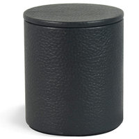 Brayden Studio Renee Genuine Leather Round Storage Container Color: Black
