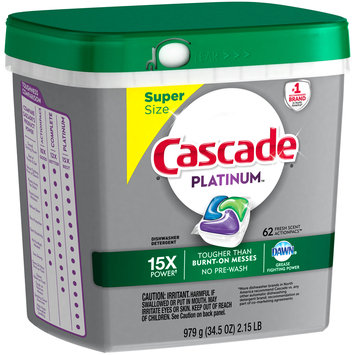 Cascade® Platinum™ Dawn® Fresh Scent Action Pacs™ Dishwasher Detergent 62 ct Plastic Container