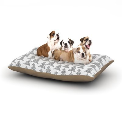 East Urban Home Michelle Drew 'Herringbone Forest' Dog Pillow with Fleece Cozy Top Color: Black/Gray/White, Size: Large (50
