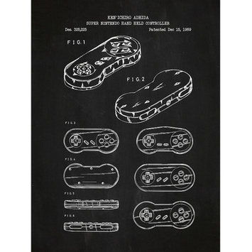 Inked And Screened Gaming 'Super Nintendo Hand Held Controller' Silk Screen Print Graphic Art in Chalkboard/White Ink