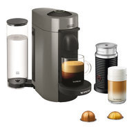 Delonghi Nespresso Vertuo Plus Coffee and Espresso Single-Serve Machine with Aeroccino Milk Frother Finish: Gray