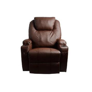 Red Barrel Studio Leather Adjustable Massage Chair Color: Brown