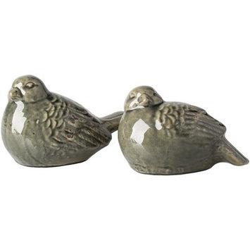 Lark Manor Lorient Ceramic Birds 2 Piece Figurine Set Color: Green