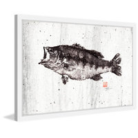 Marmont Hill Inc Marmont Hill - 'Black Bass I' by Dwight Hwang Framed Painting Print